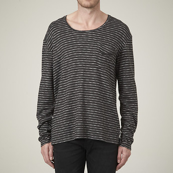 FLATLINE DROP PKT CREW IN CHARCOAL STRIPE